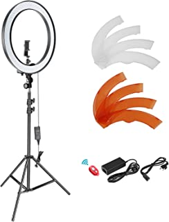 Neewer Kit Standard de iluminación de Luces LED SMD Regulables, diámetro Exterior 18 Pulgadas con 200 cm, Soporte Clip para Smartphone y Adaptador Hotshoe, para Youtube Video TikTok (10092443)
