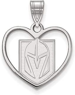 Lex & Lu Sterling Silver LogoArt Vegas Golden Knights Pendant in Heart