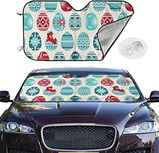 Jhfghdfnv Eggs Pysanky Chick Car Sunshield for Windshield, Personalized Design, Foldable Automatic Window Shade, UV Blocking, Keep Your Car Cool and Damage-Free, Easy to Install Sun Visor