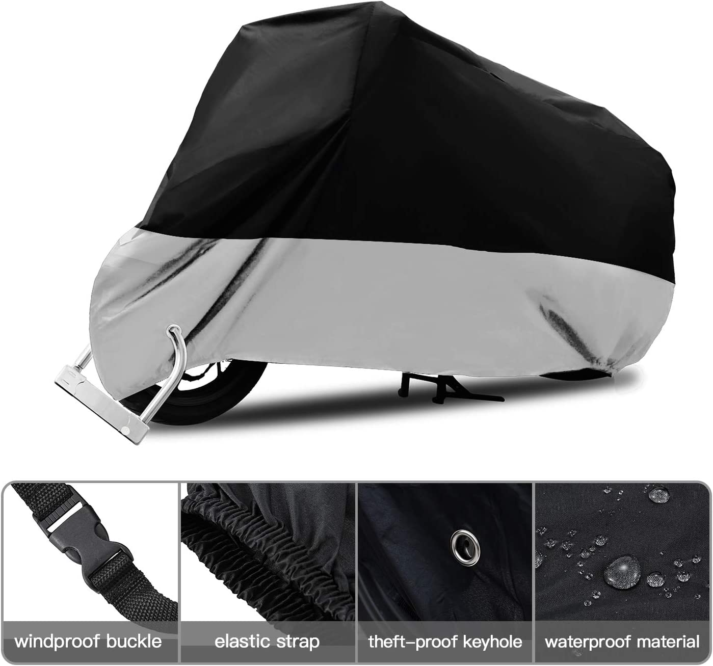 DREAMIZER wasserdichte Motorradabdeckung Street Sport Fahrrad Abdeckung mit Verschluss Loch f/ür Innen und Au/ßenstaub Schnee Regen UV-Schutz