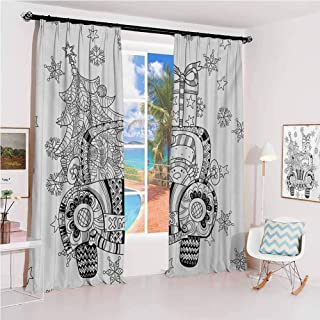 GUUVOR Christmas Hook up Curtain Abstract Car with Big Tree Ornaments Gift Box Stars Snowflakes Artsy Print for Bedroom Kindergarten Living Room W100 x L84 Inch Black and White