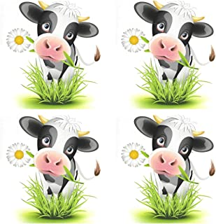 Jiayangzi Cute Holstein Cow Green Grass Placemats Non-Slip Heat Resistant Table Placemat Dining Washable Kitchen Table Mats Restaurants Place Mats Set of 4