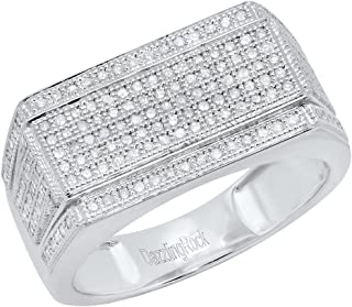 0.76 Carat (ctw) 10K White Gold Round White Diamond Men's Flashy Hip Hop Ring 3/4 CT