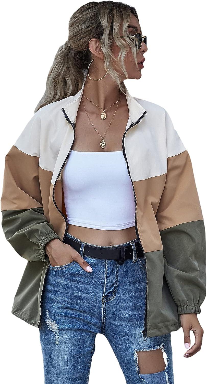 Verdusa Women's Casual Color Block Drawstring Hem Long Sleeve Jacket Outerwear