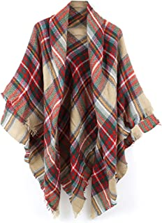 Women's Cozy Tartan Blanket Plaid Scarf Wrap Shawl Scarves Checked Pashmina Cape