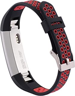 SHEAWA Fitbit Alta HR/Fitbit Alta用 バンド ベルト スポーツバンド シリコン製 汗に強い 6色あり (ブラック+レッド)