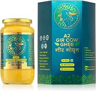 100% Organic Grass fed Ghee Butter from GirOrganic - 32 Oz (1000 ml) glass jar of Premium quality A2 Gir Cow cultured ghee...
