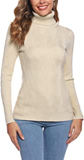 Aibrou Suéter de Cuello Alto para Mujer, Prendas de Punto de Manga Larga elásticas Suaves, livianas y sólidas Jersey con R...