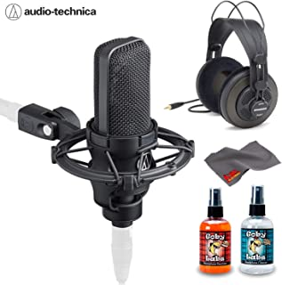 Audio-Technica AT4040 Cardioid Condenser Studio Microphone with Samson SR850 Studio Headphones, Shockmount, Hard Case, and 6Ave Cleaning Kit