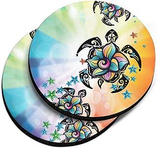 CARIBOU Coasters, Flower & Turtles Design Absorbent Round Fabric Felt Neoprene Car Coasters for Drinks, 2pcs Set