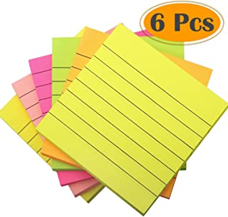 selizo 6 Pads Sticky Notes Lined, 3 x 3 Inch, 100 Sheets/Pad, 5 Colors