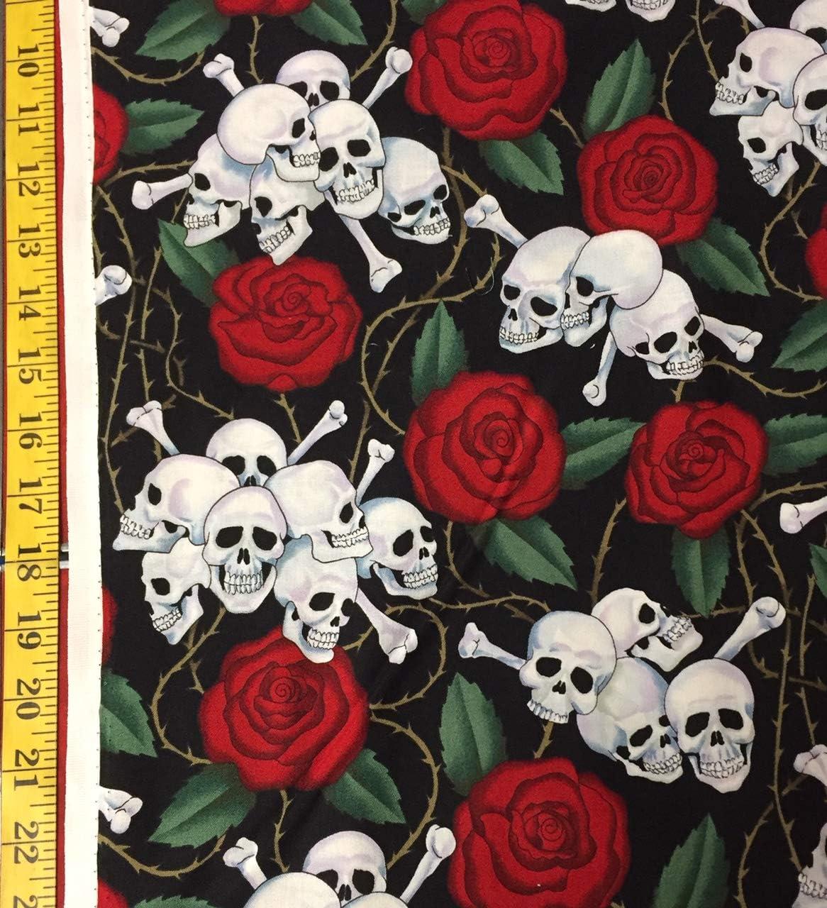 Skulls /& Roses Alexander Henry Fabric Flowers Skulls-1595A