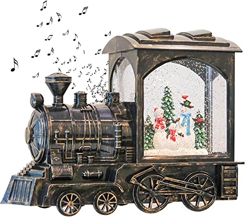 GenSwin Lighted Christmas Snow Globe Lantern, Battery Operated Snowman Musical Train LED Water Glittering with 6H Timer, Christmas Home Decoration Gift(Copper)
