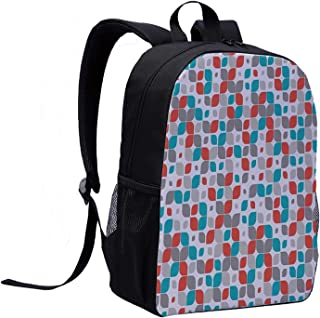 Geometric Decor Multi Function Backpack,Retro Mosaic Motif with Traditional Featured Fractal Forms Grid Graphic for Office,12″L x 5″W x 17″H
