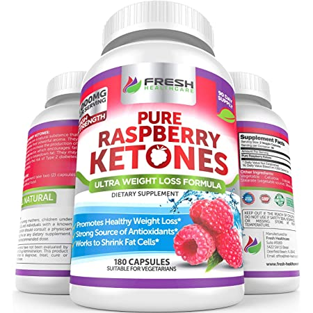 Pure 100% Raspberry Ketones Max 1000mg Per Serving - 3 Month Supply - Powerful Weight Loss Supplement - Provides Energy Boost for Weight Loss - 180 Capsules by Fresh Healthcare