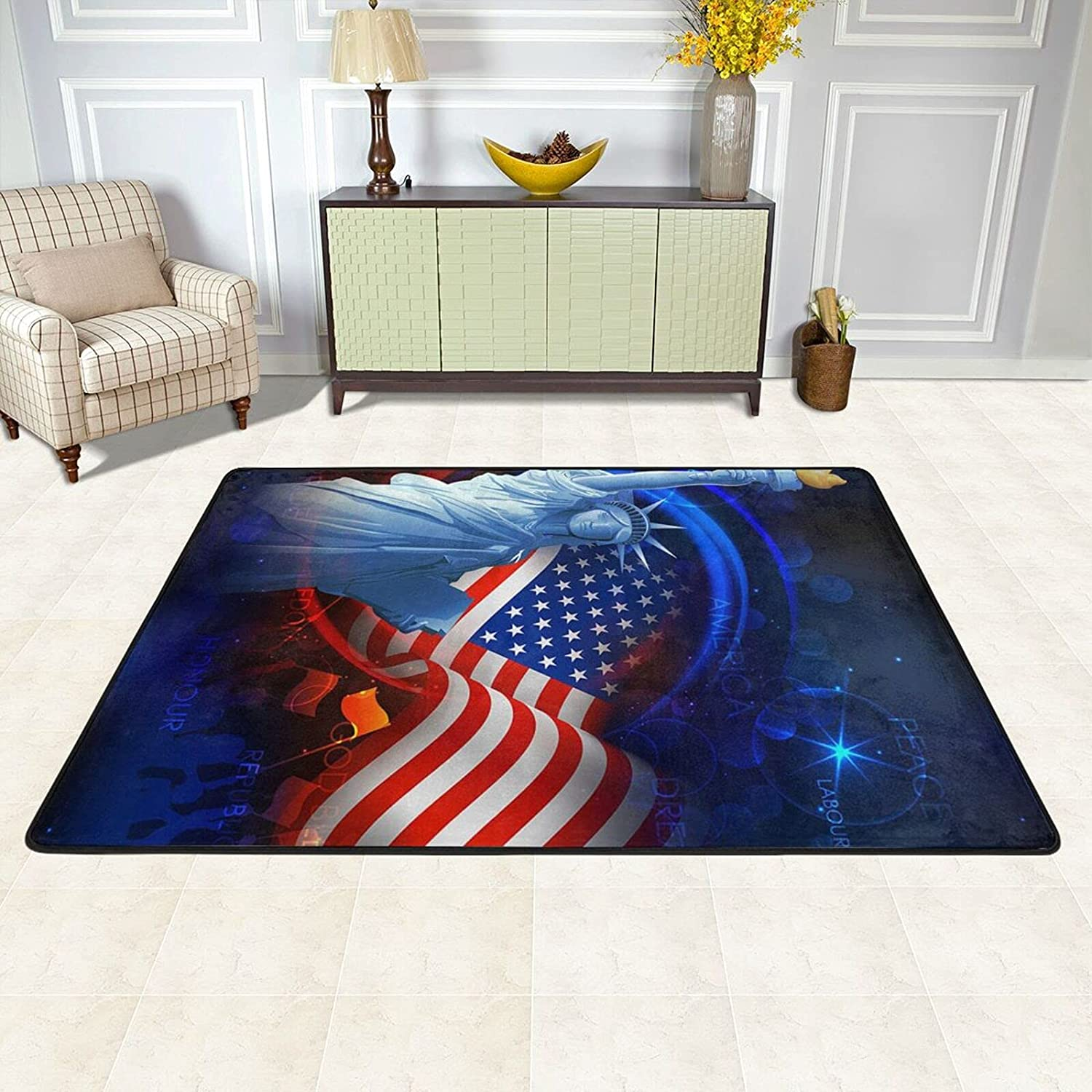 ZHUBAJIE Area Rugs Pad for Bedroom Statue-Liberty Living Popular brand in the world depot Am Room