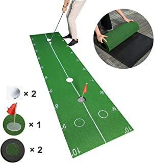 TIANNBU Putting Green Indoor Outdoor Golf Putting Mat High Simulation Artificial Turf with Distance Mark Golf Practice Training Aid Equipment for Men Home Office