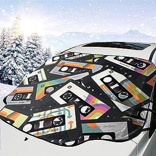 LYMT Frontscheibenabdeckung Scheibenabdeckung Retro Vintage Kassettenband Auto Windschutzscheibe Abdeckung Faltbare für UV Strahlung, Sonne, Staub, Frost und Schnee 147 * 118cm