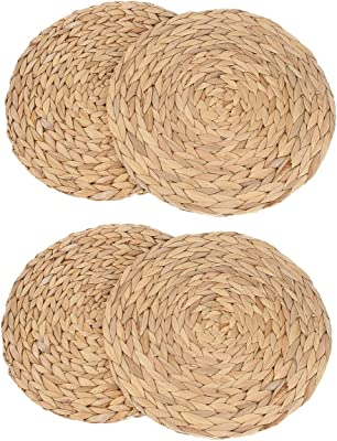 kilofly 2pc/4pc Natural Water Hyacinth Weave Placemat Round Braided Rattan Tablemats (13.5 inch 4pc)