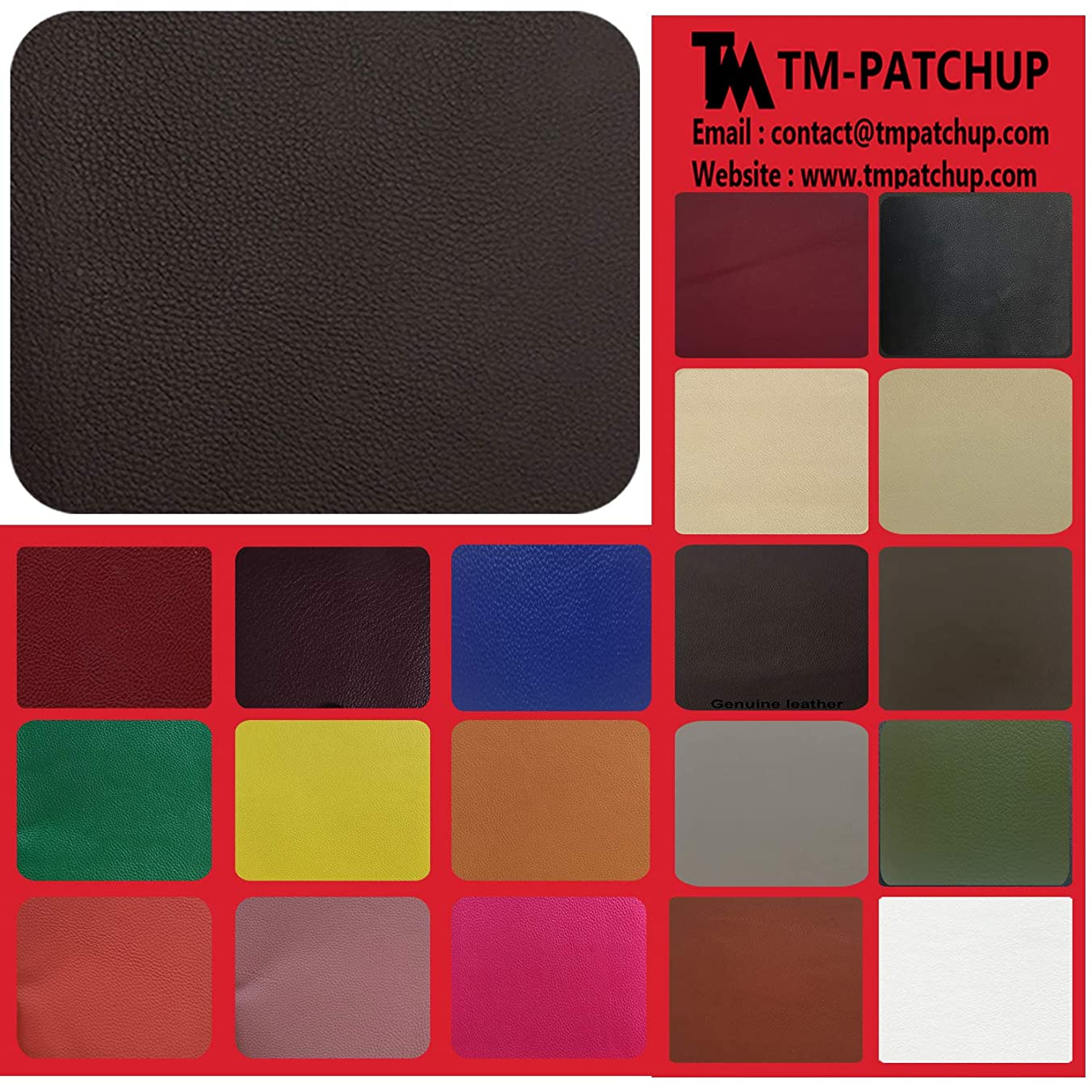 TMpatchup Genuine Leather and Vinyl Repair Patches Kit - Grain Self Adhesive Leather to Repair Furniture, Couch, Sofa, Jacket - Multiple Colors and Sizes Available (Dark Brown, 3'' x 3'')