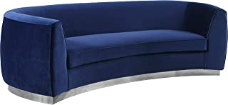 Meridian Furniture Julian Collection Modern | Contemporary Navy Velvet Upholstered Loveseat with Stainless Steel Base in Polished Chrome Finish