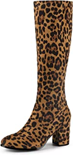 Ladies Womens Thigh High Over The Knee Peep Toe Leopard Fashion Boots Size 3-8