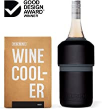 Huski Wine Cooler | Premium Iceless Wine Chiller | Keeps Wine or Champagne Bottle Cold up to 6 Hours | Award Winning Design | New Wine Accessory | Perfect Gift for Wine Lovers (Black)