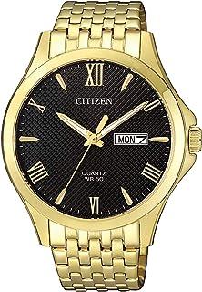 Citizen Quartz Standard Mens Black Gold Stainless Steel Watch - BF2022-55H