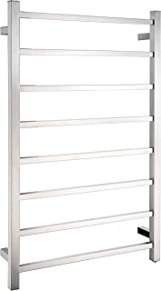 ANZZI Bell 8-Bar Wall Mounted Towel Warmer in Brushed Nickel | Energy Efficient 93W Electric Plug in Heated Towel Rack for Bathroom | Steel Towel Heater Rail On/Off Switch Drying Rack | TW-AZ026BN
