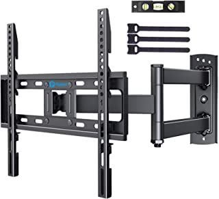 Full Motion TV Wall Mount Single Articulating Arms Height Adjustable Bracket Swivel Extension Tilt for Most 23-55 Inch LED...