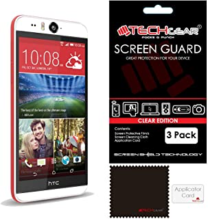 TECHGEAR [3 stycken skärmskydd för HTC Desire Eye – Ultraklar skyddsfolie – med rengöringsduk + applikationskort