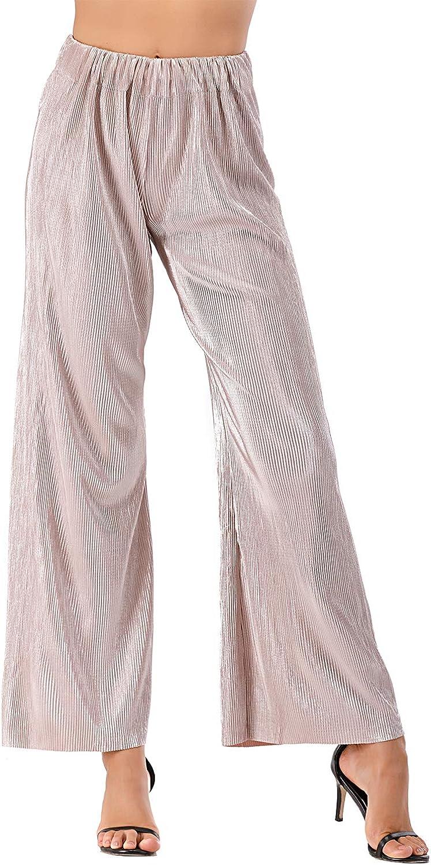 VZULY Women's Premium Pleated Maxi Wide Leg High Waist Palazzo Lounge Pants