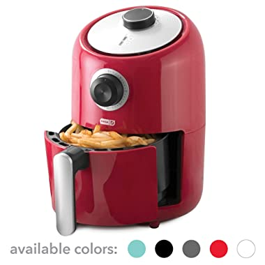 Dash (DCAF150GBRD02) Compact Air Fryer Oven Cooker with Temperature Control, Non Stick Fry Basket, Recipe Guide + Auto Shut off Feature, 2qt, Red