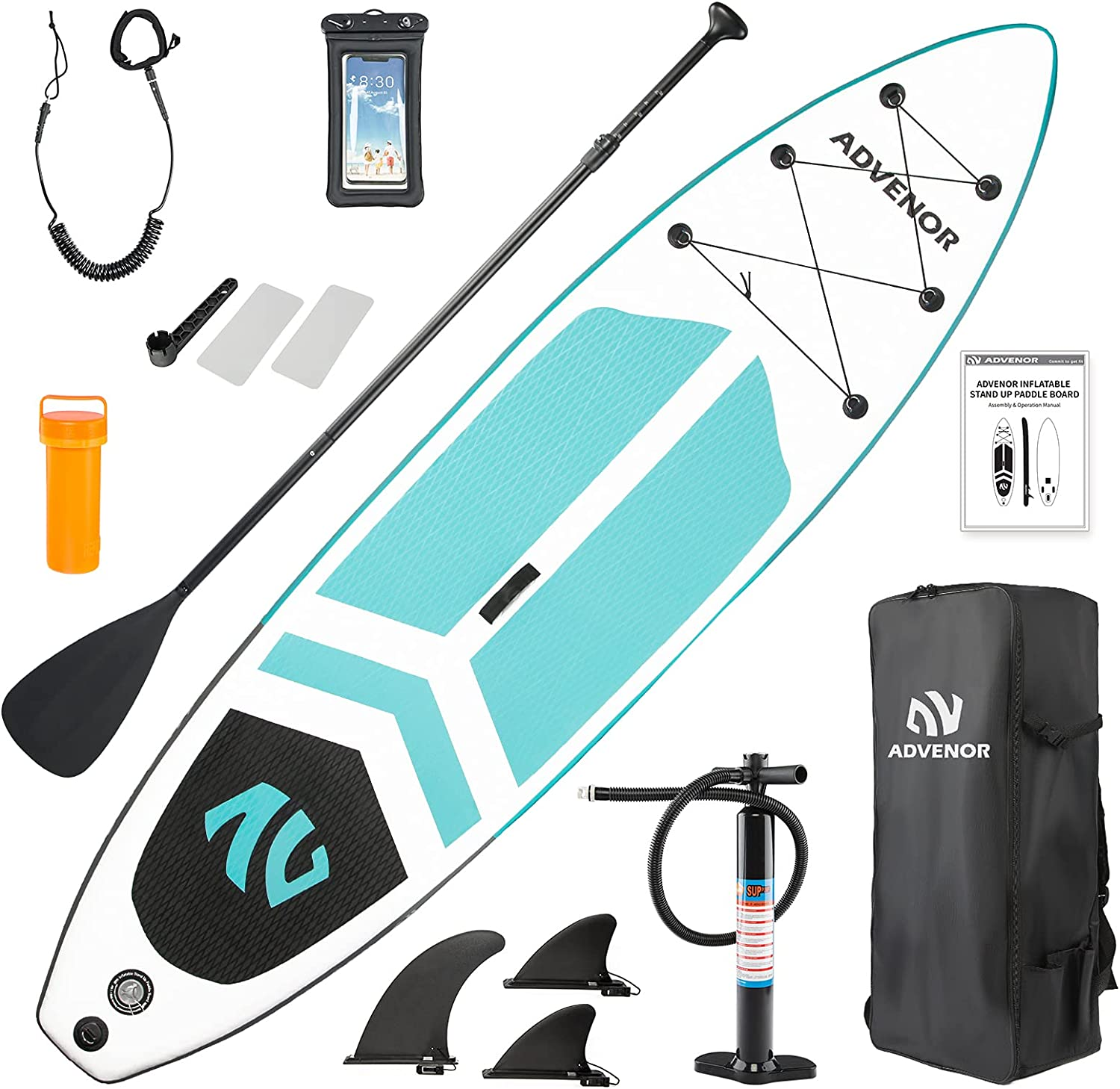 ADVENOR Paddle Board 11'x33 x6 Extra Wide Inflatable Stand Up Paddle Board with SUP Accessories Including Adjustable Paddle,Backpack,Waterproof Bag,Leash,and Hand Pump,Repair Kit
