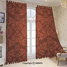 Chiffon Sheer Curtains Voile Drapes Classical Ancient Nature Leaf Motifs Floral Tile Old Fashioned Grunge Antiquity Window Curtain for Bedroom Living Room 52 x 84 Inch Length, 2 Panels,Maroon Scarlet