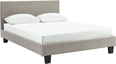 WHI Upholstered Queen Bed, Grey Platform