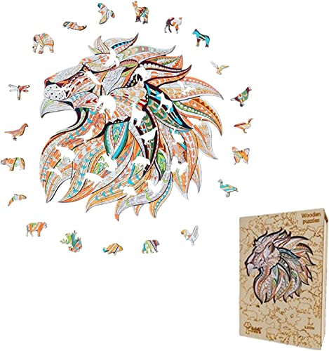 lowest OPTIMISTIC Wooden Puzzle Jigsaw, Unique Shape Jigsaw Pieces Majestic Lion, wholesale Best 2021 for Adults and Kids, 5MM Thick, 13.7 х 13.7 inches, 175 Pieces, Size L sale