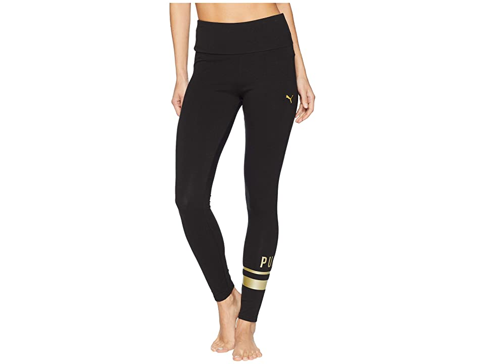 PUMA Athletic Logo Leggings (Cotton Black/Gold) Women