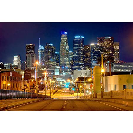 LOS ANGELES CALIFORNIA NIGHT SKYLINE GLOSSY POSTER PICTURE PHOTO PRINT la 3657