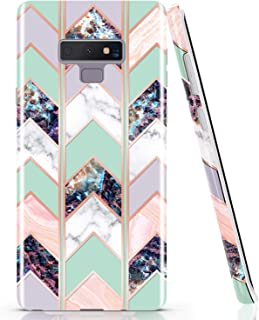 BAISRKE Galaxy Note 9 Case, Shiny Rose Gold Marble Wave Geometric Case Slim Soft TPU Rubber Bumper Silicone Protective Phone Case Cover for Galaxy Note 9 (Green)