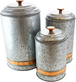 Galvanized Canisters Farmhouse Rustic Metal Set of 3 Flour Sugar Container Canister Kitchen Single Copper Band by Well Pack Box