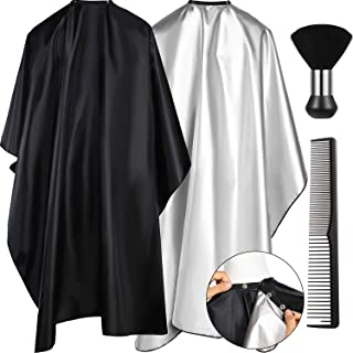 4 Pieces Barber Salon Cape Set Includes Hair Cutting Styling Hairdressing Cape with Snap Closure 59 x 51 Inch Barber Neck Duster Brush and Black Hair Comb