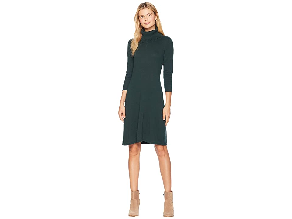 Nine West Cowl Neck Fit Flare Knit Dress (Hunter) Women