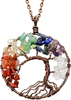 Christmas Tree Crystal Necklace Tree of life Pendant Family Best Friends Valentine Gift for Women for Men