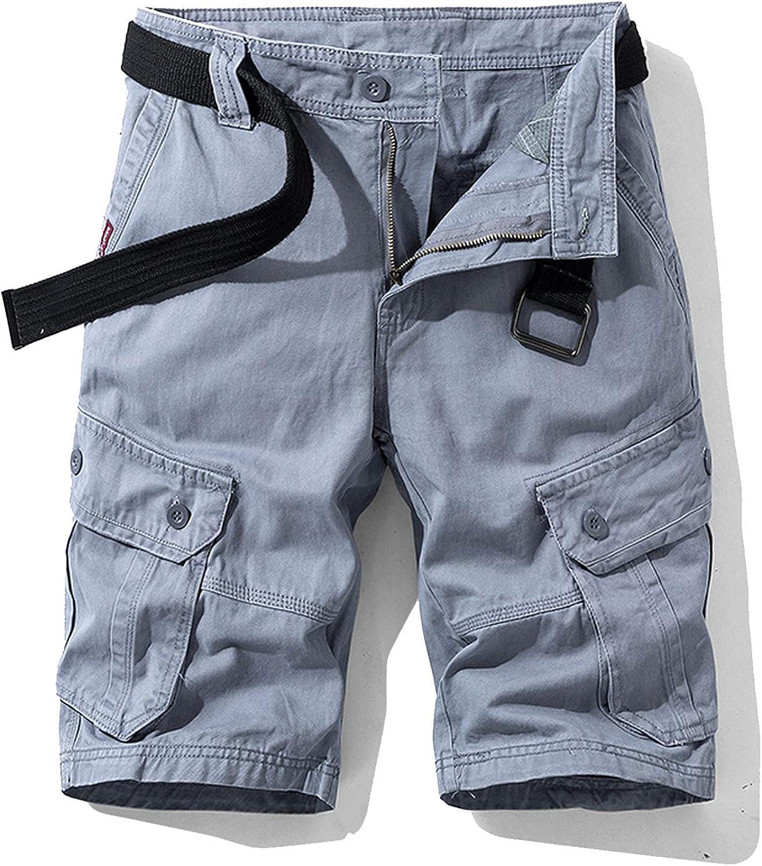 XiAn Men Summer Cotton Cargo Shorts Khaki Multi-Pocket Casual Short Pants Loose Military-Gray-38