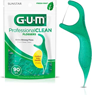 GUM Professional Clean Flossers Extra Strong Flosser Pick, Fresh Mint, 90 Count