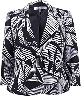 Womens Printed Three-Quarter Sleeves One-Button Blazer