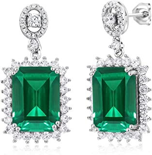 925 Sterling Silver Green Simulated Emerald Earrings 13.60 Cttw Emerald Cut 14X10MM
