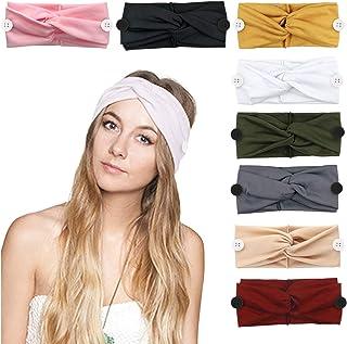 DRESHOW 8 Pack Women's Headbands with Button Headwraps Hair Bands Criss Cross Knot Hair Accessories