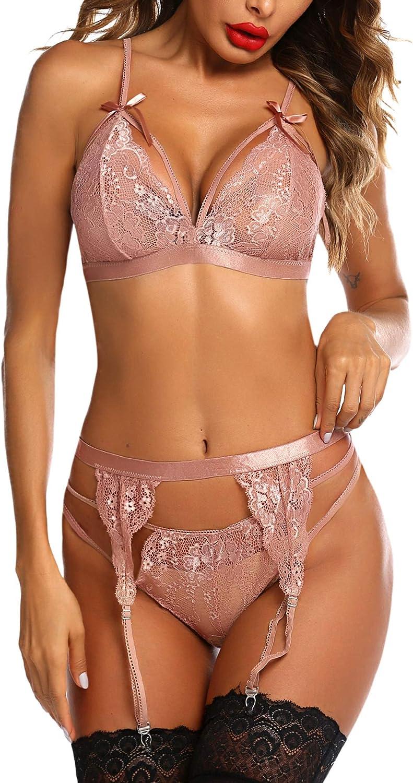 wearella Women Lace Lingerie Set with Garter Belt Strap Bra and Panty Babydoll